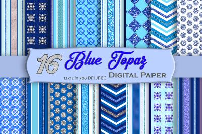 16 Blue Topaz Digital Paper Pack