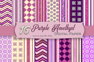 Purple Amethyst Digital Paper Pack