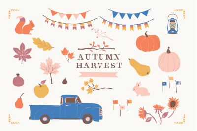 Autumn Harvest - Chevy Truck Clip Art Vintage Chevy Truck Pumpkin Pear Apple Fig Pomegranate Banners Lantern Fall Leaves Tree Branches Bunny Pumpkin