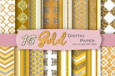 Gold Geometric Digital Paper Pack