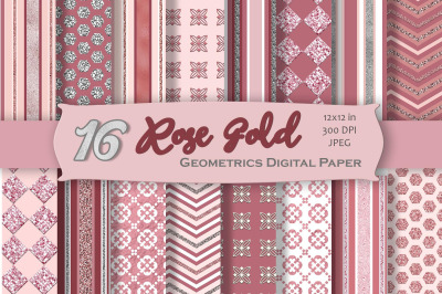 Rose Gold Digital Paper Pack