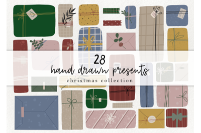Hand drawn presents - christmas clipart, holiday gift elements
