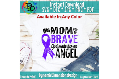 God Made her an Angel svg, My Mom, Brave svg, Fight for a Cure svg, P