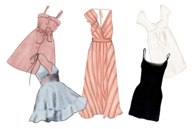 Trendy fashionable digital hand-drawn dresses - feminine set