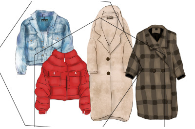 Fashionable digital hand-drawn outerwear set