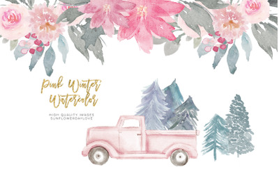 Pink Christmas clipart, floral Pink watercolor clipart