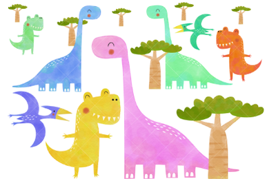 Watercolor Dinosaur Clipart, Prehistoric Dinosaurs