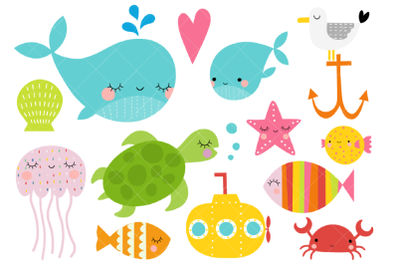Sea Animals Clipart, Under the Sea, Ocean, Nautical, Sea Life