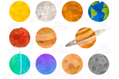 Planets Clipart, Watercolor Solar System