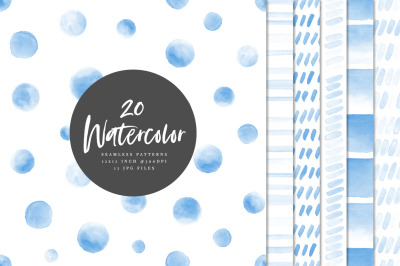 20 Seamless Watercolor Patterns Blue