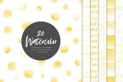 20 Seamless Watercolor Patterns Yellow