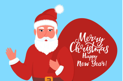 Santa Claus with a bag. New Year and Merry Christmas