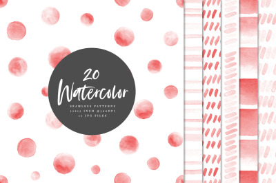 20 Seamless Watercolor Patterns Red