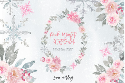 Snowflakes Pink & Silver clipart, Winter Tree Graphics Planner Sticker
