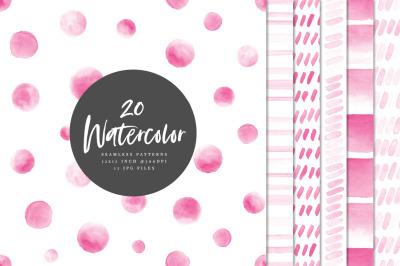 20 Seamless Watercolor Patterns Pink