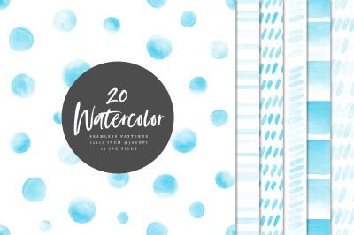 20 Seamless Watercolor Patterns Light Blue