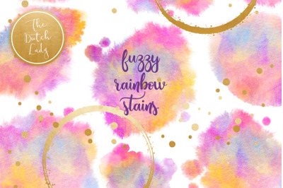 Rainbow Fuzzy Ink Stain Clipart Set
