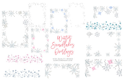 Winter snowflakes overlays, pink Winter silver christmas overlays