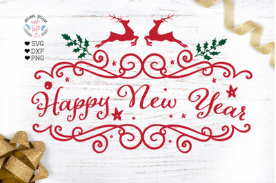 Happy New Year Cut File  in SVG, DXF and PNG.