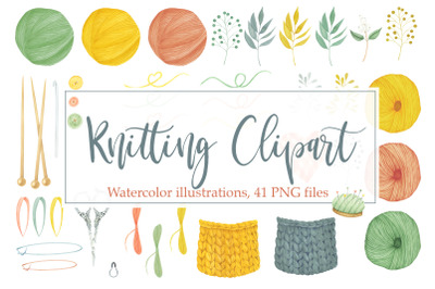 Watercolor Knitting and Sewing Clipart