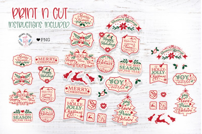 Vintage Type Christmas Stickers