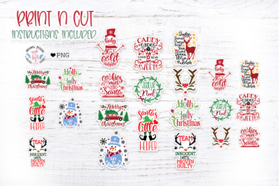 Cute Christmas Print n Cut Stickers