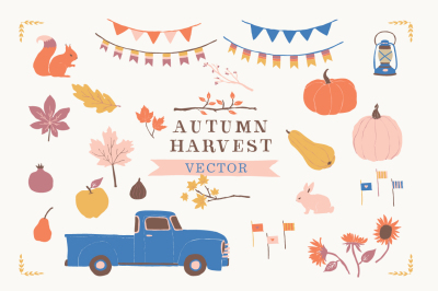 Chevy Truck Clip Art Graphics - Pumpkin Patch Pear Apple Fig Pomegranate Banners Lantern Fall Leaves Tree Branches Bunny