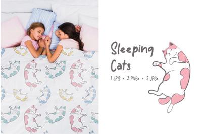 Sleeping Cats Pet-tern 1 - Cute Sleeping Cats Patterns EPS, JPG, PNG