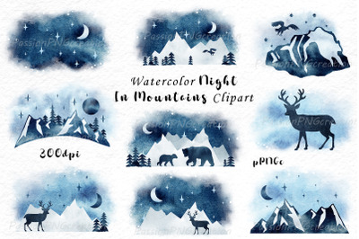 Watercolor night in mountains clipart