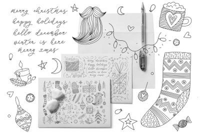 Christmas Doodle Line Art Winter Set