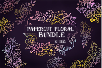 Papercut Floral Bundle- 30 SVG items