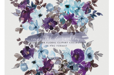 Purple and Light Blue Watercolor Floral Clipart Collection