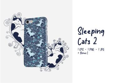 Sleeping Cats Pet-tern 2 - Cute Sleeping Cats Pattern + BONUS EPS, JPG