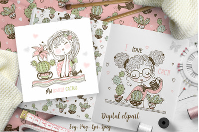 Cute girls grow cacti Svg Png digital cliparts in Doodle style.