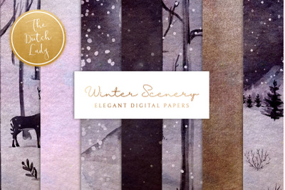 Digital Backgrounds & Papers - Winter Sceneries