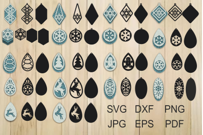 Christmas Earrings, Earrings SVG, Pendant Template, Cut File