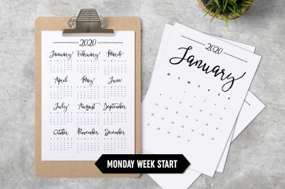 Calendar 2020 A4 Monday Start