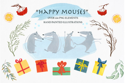 Happy uses, png illustrations, winter gifts, winter rat