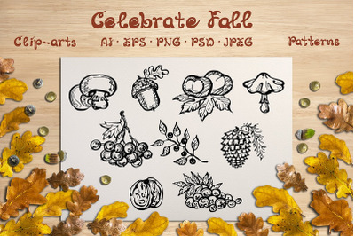 Fall elements, cards and patterns