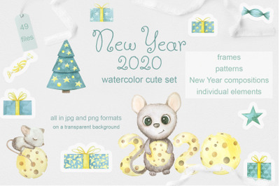 Mouse. New Year 2020. Watercolor set