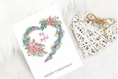 Christmas card with heart-shape wreath