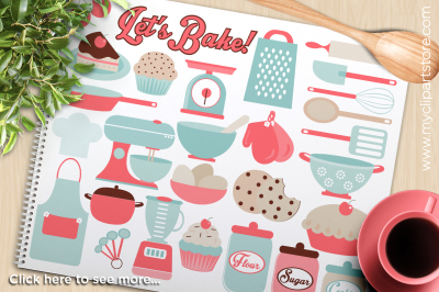Lets Bake / Kitchen Utensils / Accessories Vector Clipart