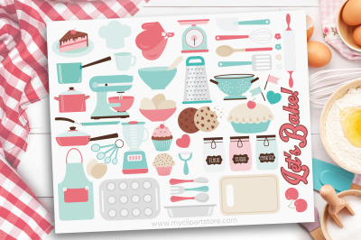 Kitchen Utensils Clipart, Let's Bake, Vector, Sublimation, SVG