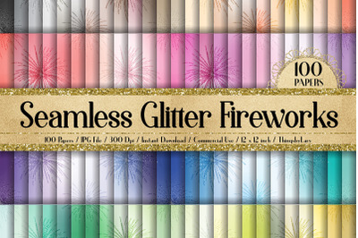 100 Seamless Glitter Firework New Year Eve Digital Papers