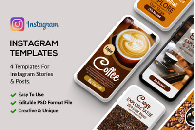 4 PSD Instagram Coffee Stories Template