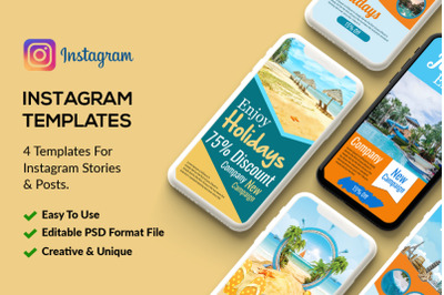 4 Tour Travel Instagram Stories Psd