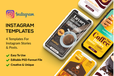4 PSD Instagram Coffee Stories