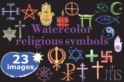 Watercolor religious symbols