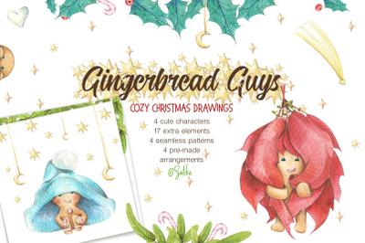 Winter watercolor. Gingerbread guys