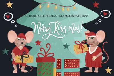 Merry Kiss-Mas. Christmas set.